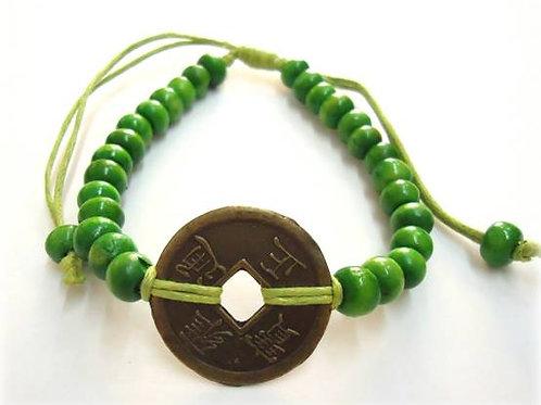 Βραχιόλι με το κινέζικο νόμισμα I-Ching-πράσινο