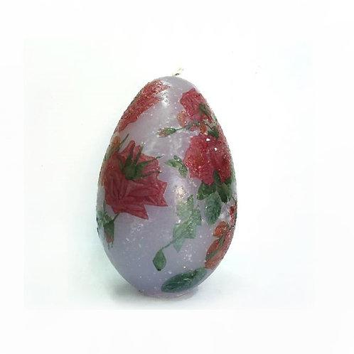 Κερί Αυγό με τριαντάφυλλα μωβ-Σύμβολο γονιμότητας