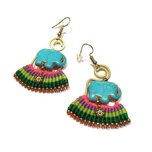 Σκουλαρίκια Boho με τυρκουάζ ελεφαντάκια