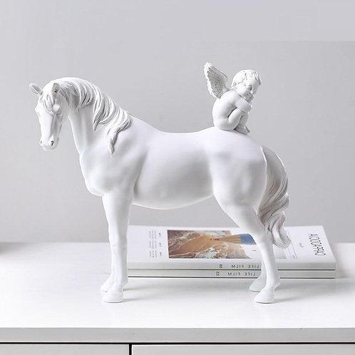 Cupid Angel Horse Statue