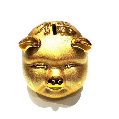 Κουμπαράς γουρουνάκι χρυσός με το σύμβολο της τύχης