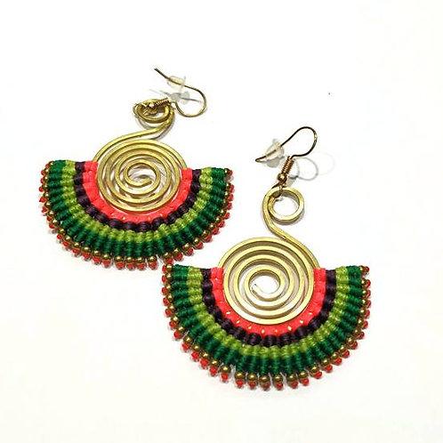 Σκουλαρίκια Boho/πράσινο