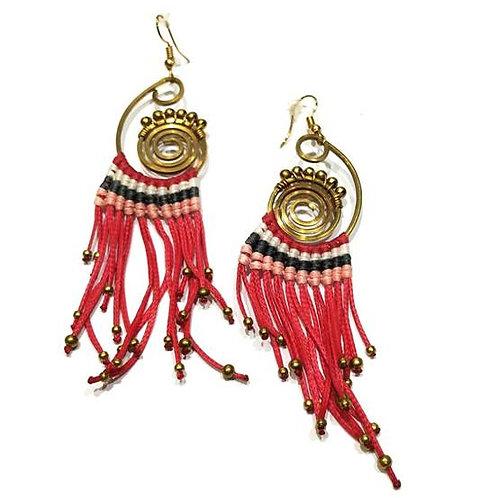 Σκουλαρίκια Boho/φούξια