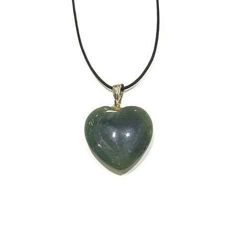 Μενταγιόν καρδιά από πράσινο αχάτη