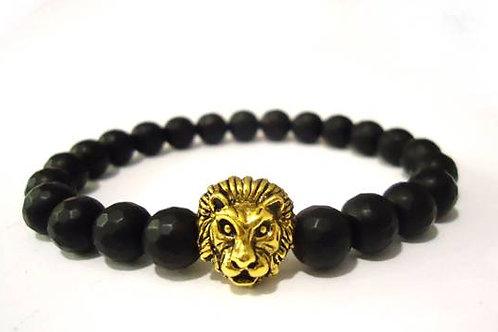 Βραχιόλι με λιοντάρι και μαύρο όνυχα (Χρυσό)