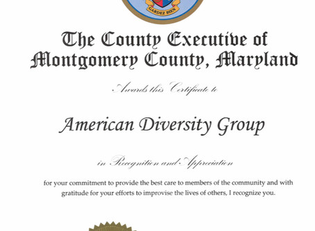 Certificate of Appreciation from Montgomery County Executive Marc Elrich.