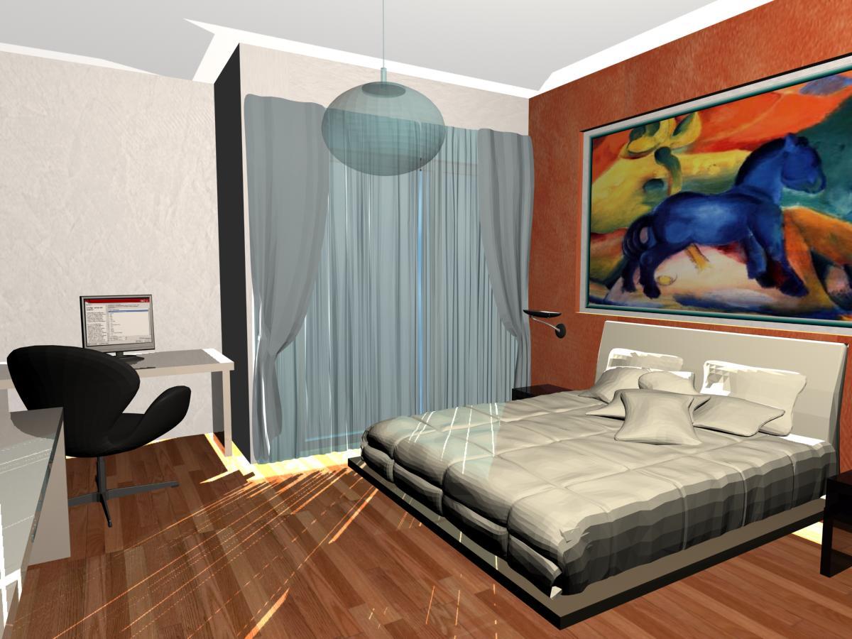 render 3D camera da letto