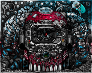 A psychedelic image of an alien spaceship in the shape of a skull, spewing oil and other toxins.