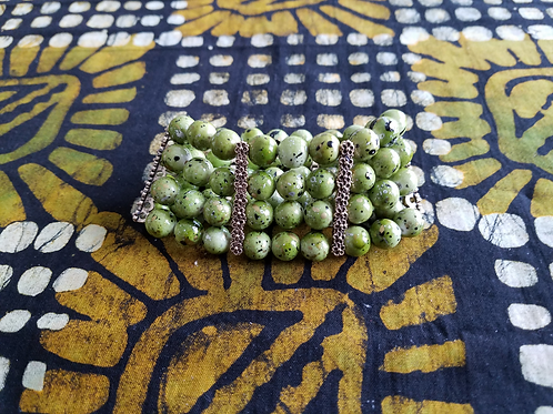 Olive Green Beaded Bracelet - Medium