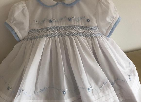 Sarah Louise White & Blue Smocked Dress