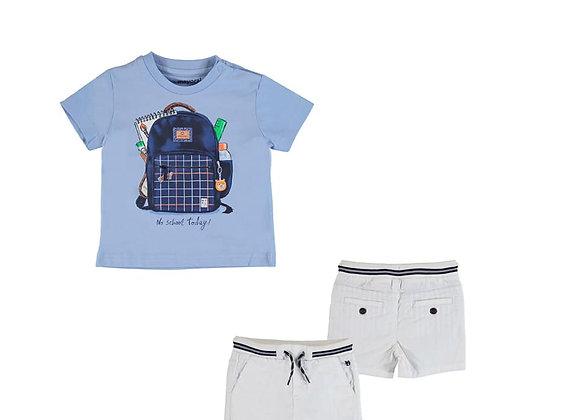 1011/1245 Two-Piece Backpack Motif T-Shirt & Shorts Set