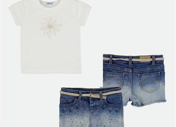3210/174 Flower T-Shirt & Denim Shorts Set