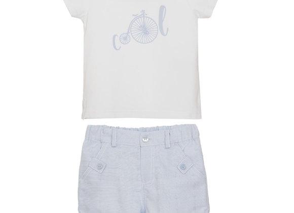 Patachou White Bicycle T-Shirt & Blue Shorts Set