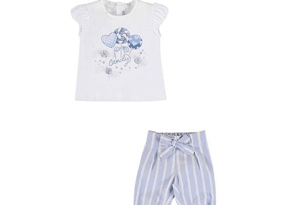 1081/1578 Candy T-Shirt & Blue Stripe Trouser Set
