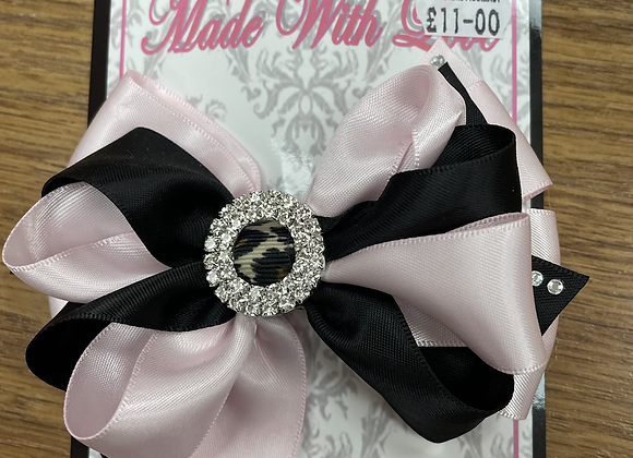 Large Black and Pink Bow