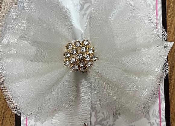 Large White Bow with Gold Diamanté centre