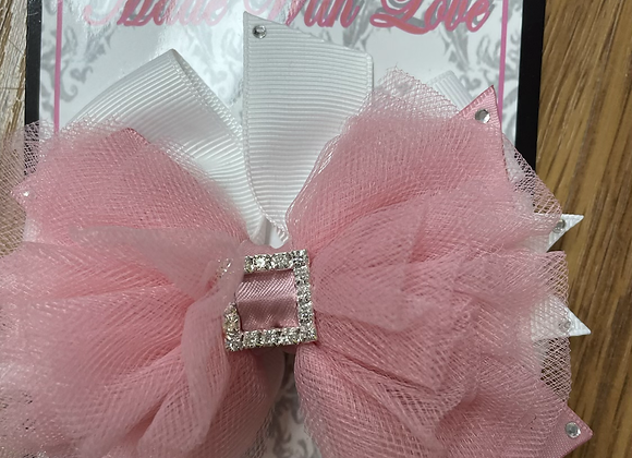 Large Pink and White Bow