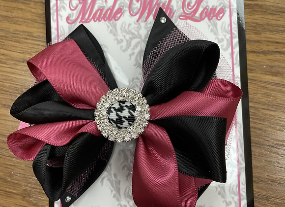 Large Black and Burgundy Bow