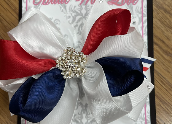 Large Navy White and Red Bow