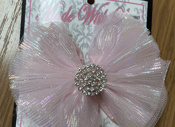Large Holographic Pink Bow