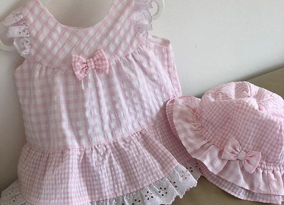Dani Pink Seersucker Dress & Hat