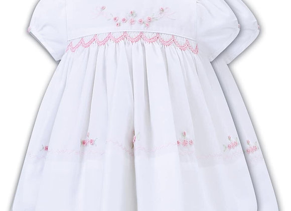Sarah Louise Dress Pink Embroidered