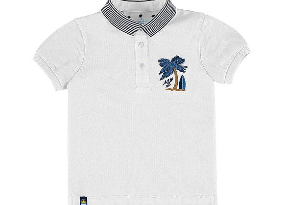 3102 White Palm Tree Polo Shirt