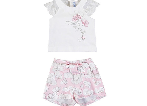 1233 Mayoral Floral Shorts & Lace Sleeve Tee