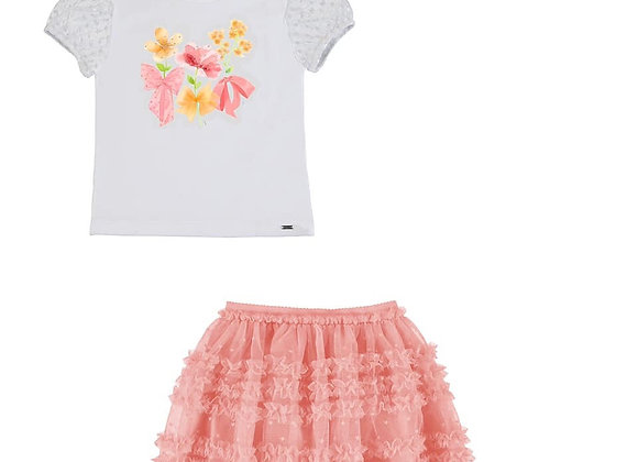 3901/3001 Flowers T-Shirt Coral Tulle Skirt Set