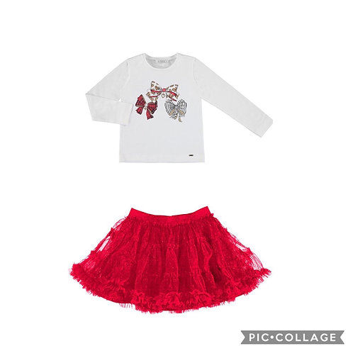 Mayoral Tulle Glitter Skirt Outfit