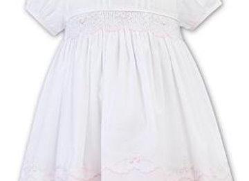 Sarah Louise White and Pink Smocked Dress