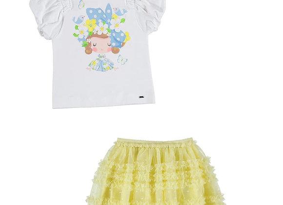 3901/3002 T-Shirt & Lemon Tulle Skirt Set