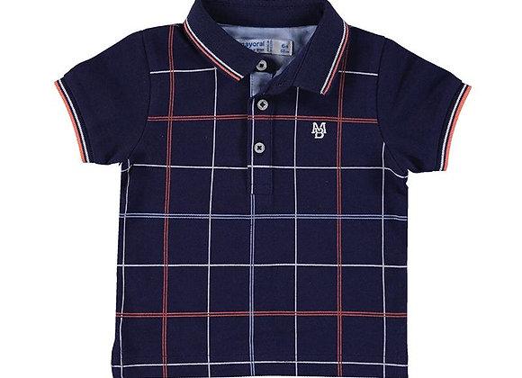 1106 Navy Check Polo Shirt