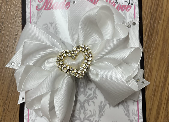 Large White bow with Heart Centre