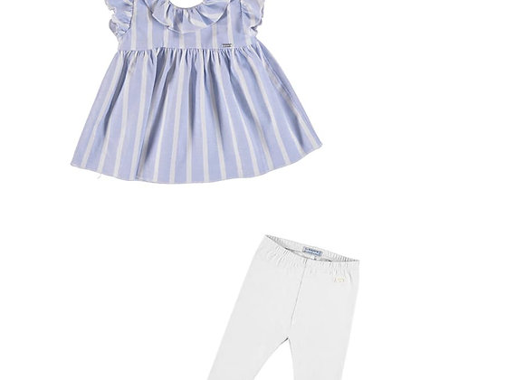 1179/703 Blue Stripe Top & White Leggings Set