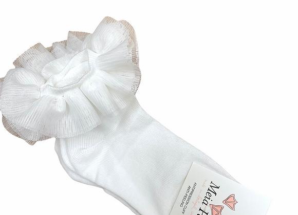 Meia Pata White Tulle Tutu Ankle Socks