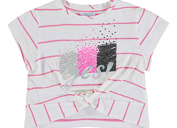 3081 White /Pink Stripe tee