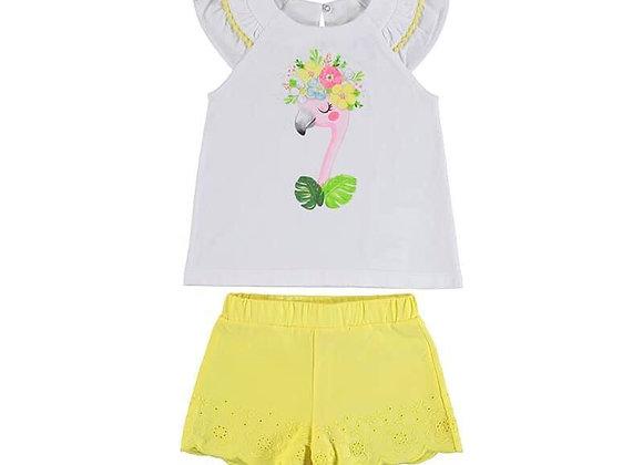 3217 Lemon Shorts & Flamingo Top Set