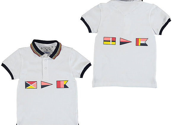 3105 White Polo Shirt with Flags