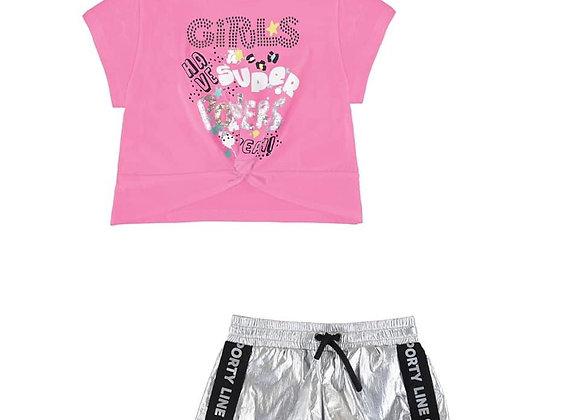 3211/3077 Silver Shorts & Tee Set