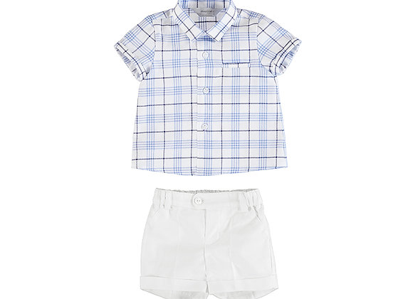 1215 Mayoral Checked Shirt & Shorts Two-Piece