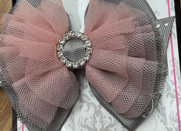 Large Grey and Pink bow