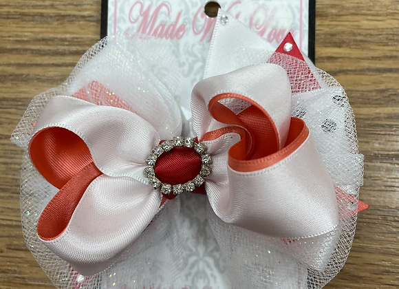 Large Red Coral and White Bow