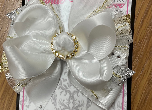Large white gold and silver bow
