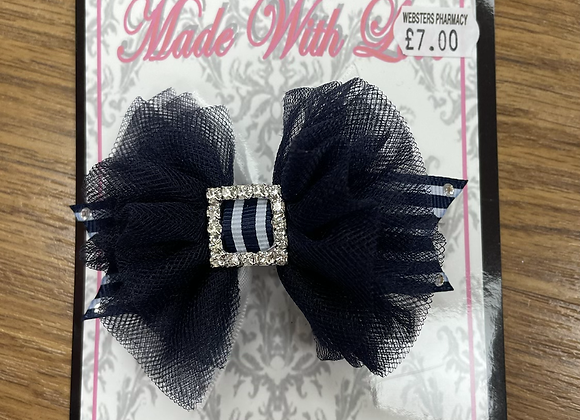 Small Navy and White Bow