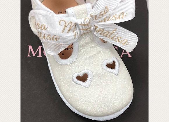 Monnalisa Glitter Ivory Sandal
