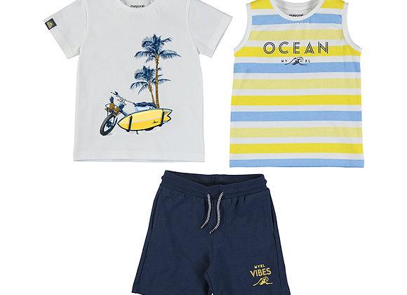 3639 Mayoral Three-Piece T-Shirt, Vest & Shorts Set