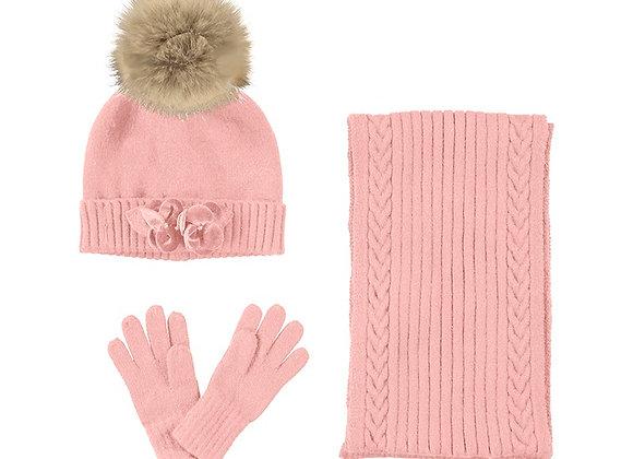 Mayoral Blush Hat, Scarf & Gloves