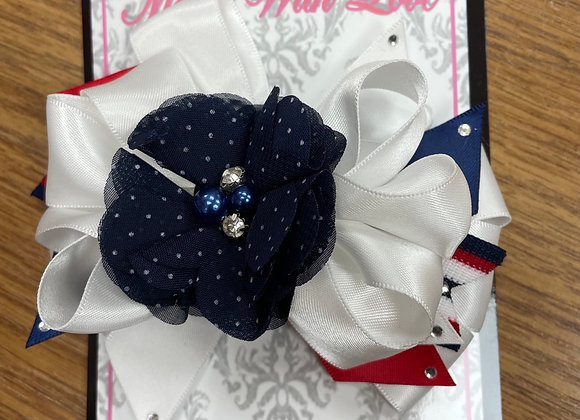 Large Navy and White Bow