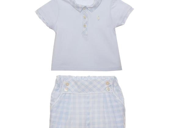 Patachou Blue & White Check Shorts & Polo Set